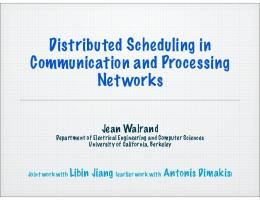 Distributed Scheduling in Communication and ... - Semantic Scholar