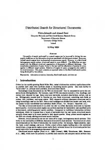 Distributed Search for Structured Documents - CiteSeerX