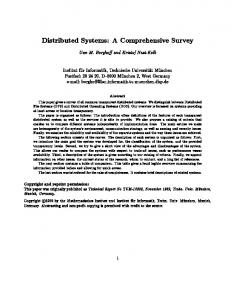 Distributed Systems: A Comprehensive Survey - CiteSeerX