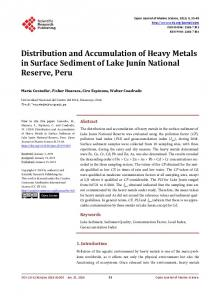 Distribution and Accumulation of Heavy Metals in