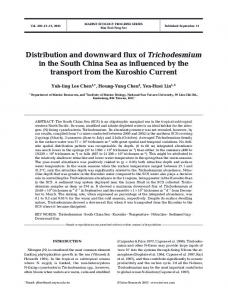 Distribution and downward flux of Trichodesmium in the South China ...
