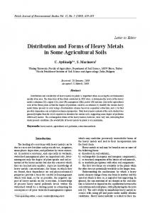 Distribution and Forms of Heavy Metals in Some Agricultural Soils