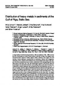 Distribution of heavy metals in sediments of the Gulf of Riga, Baltic Sea