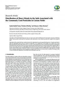 Distribution of Heavy Metals in the Soils Associated with the ...