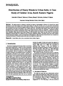 Distribution of Heavy Metals in Urban Soils; A Case ...