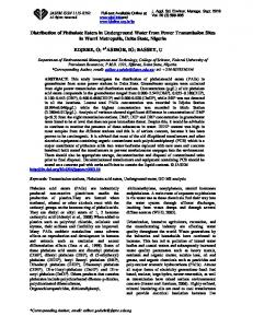 Distribution of Phthalate Esters in Underground Water from Power ...