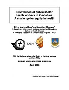 Distribution of public sector health workers in Zimbabwe - Equinet Africa