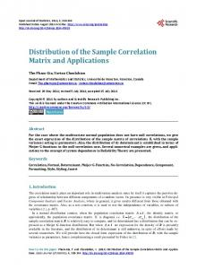 Distribution of the Sample Correlation Matrix and Applications