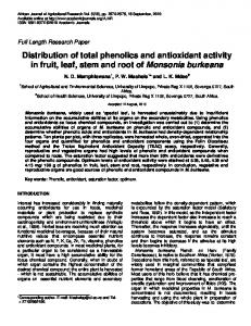 Distribution of total phenolics and antioxidant activity in ... - CiteSeerX