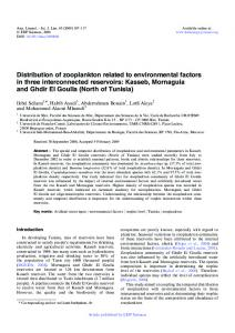 Distribution of zooplankton related to environmental factors in three ...