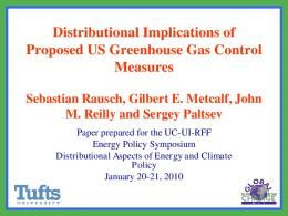 Distributional Implications of Proposed US Greenhouse Gas Control ...