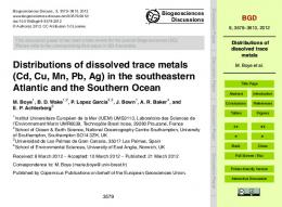 Distributions of dissolved trace metals