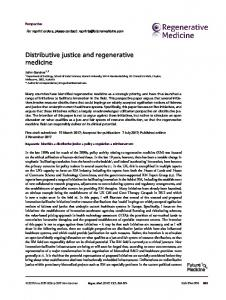 Distributive justice and regenerative medicine - Future Medicine