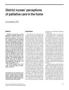 District nurses' perceptions of palliative care in the ... - SAGE Journals