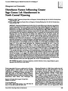 Disturbance factors influencing greater ... - Wiley Online Library