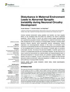Disturbance in Maternal Environment Leads to Abnormal ... - Core