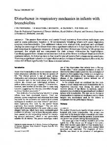 Disturbance in respiratory mechanics in infants with bronchiolitis - NCBI