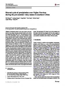 Diurnal cycle of precipitation over Fujian Province during the ... - Core