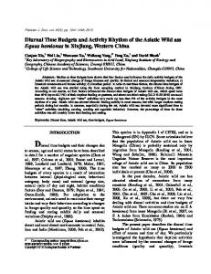 Diurnal Time Budgets and Activity Rhythm of the Asiatic Wild ass ...