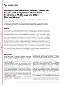 Divergent Associations of Plasma Choline and Betaine with ...