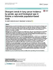 Divergent trends in lung cancer incidence by gender ... - BMC Cancer