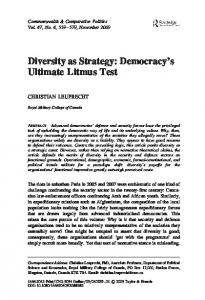 Diversity as Strategy: Democracy's Ultimate ... - Taylor & Francis Online