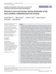 Diversity in form and function: Vertical distribution ... - BES journal - Wiley