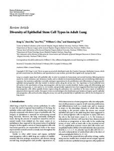 Diversity of Epithelial Stem Cell Types in Adult Lung