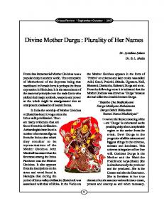 Divine Mother Durga : Plurality of Her Names
