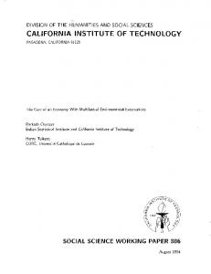 division of the humanities and social sciences california institute of ...
