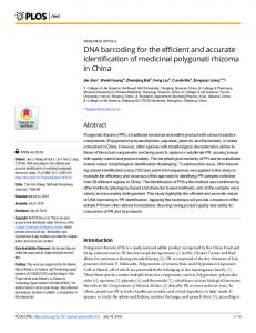 DNA barcoding for the efficient and accurate identification of ... - PLOS