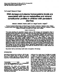 DNA damage and plasma homocysteine levels are associated with ...