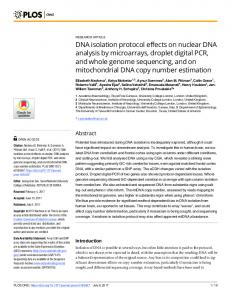 DNA isolation protocol effects on nuclear DNA analysis by ... - PLOS
