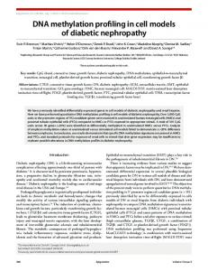 DNA methylation profiling in cell models of diabetic nephropathy