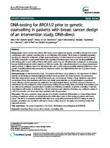 DNA-testing for BRCA1/2 prior to genetic counselling ... - BioMedSearch
