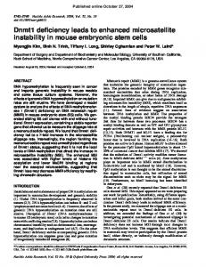 Dnmt1 deficiency leads to enhanced microsatellite instability in mouse ...