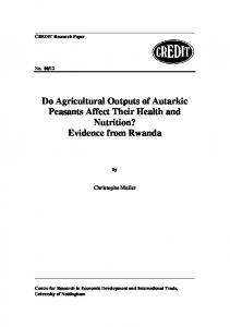 Do Agricultural Outputs of Autarkic Peasants Affect ... - Semantic Scholar