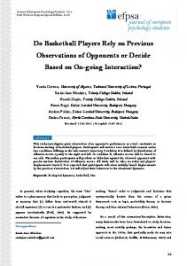 Do Basketball Players Rely on Previous Observations of Opponents or ...