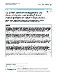 Do biofilm communities respond to the chemical signatures of fracking ...