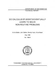 do calculus students eventually learn to solve non-routine problems