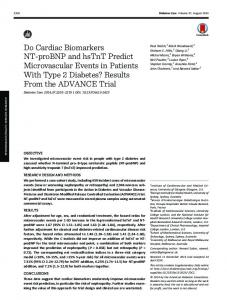 Do Cardiac Biomarkers NT-proBNP and hsTnT ... - Diabetes Care