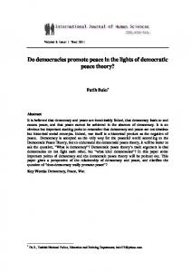 Do democracies promote peace in the lights of democratic peace ...
