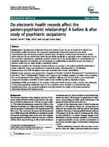 Do electronic health records affect the patient ... - BMC Psychiatry