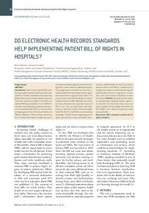Do Electronic Health Records Standards Help Implementing Patient ...