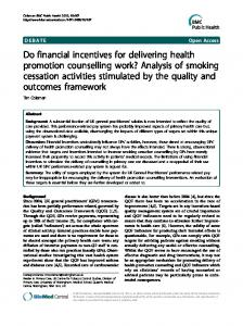 Do financial incentives for delivering health promotion counselling work?