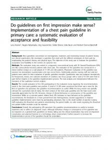 Do guidelines on first impression make sense? Implementation of a ...