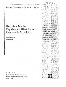 Do Labor Market Regulations Affect Labor - World bank documents