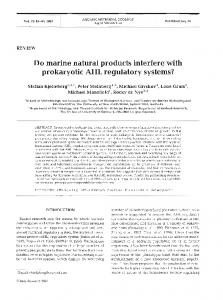 Do marine natural products interfere with prokaryotic ... - Inter Research