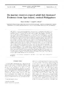 Do marine reserves export adult fish biomass? - Inter Research