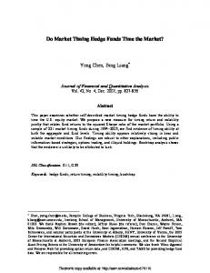 Do Market Timing Hedge Funds Time the Market? - SSRN papers